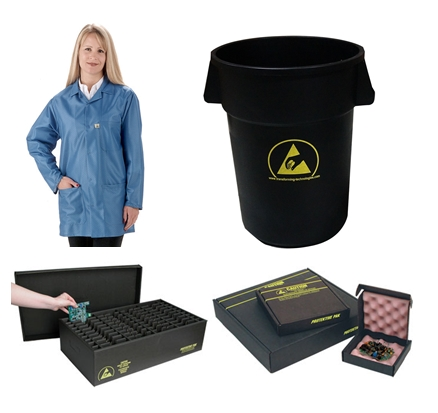 smocks, ESD trash cans, conductive in-plant handlers, ESD shippers